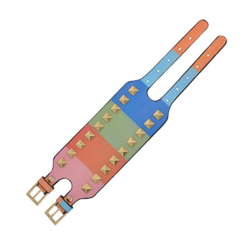 Kirykle-bracelet en cuir pour femmes, bijou Punk classique, nouveau Style, breloque multicolore, à rivets larges, à la mode 5