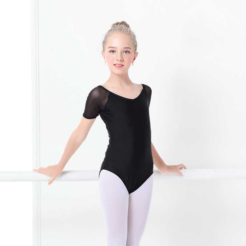 6b2c8ee382168 ... Kids Black Dance Leotard Girls Ballet Leotard Costume Short Sleeve  Cotton Bodysuit Leotards Mesh Dance Wear ...