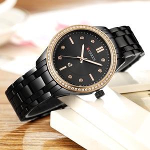 Image 4 - CURREN reloj Saat de gran oferta para mujer, reloj de pulsera para mujer, de acero completo, resistente al agua, negro, femenino