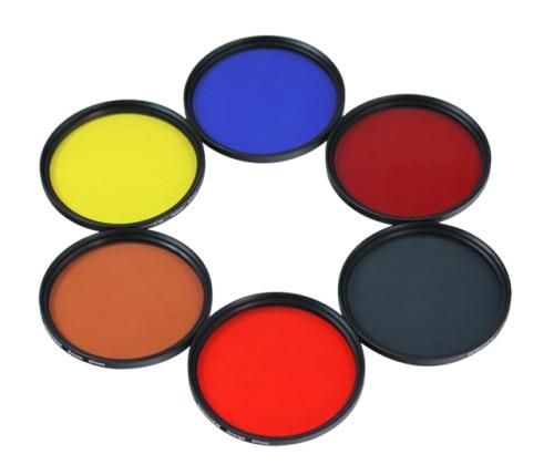 DSLR Cámara Filtro de color para objetivos 37 40,5 43 46 49 52 55 58 62 67 72 77 mm rojo amarillo, naranja verde azul púrpura para Canon nikon