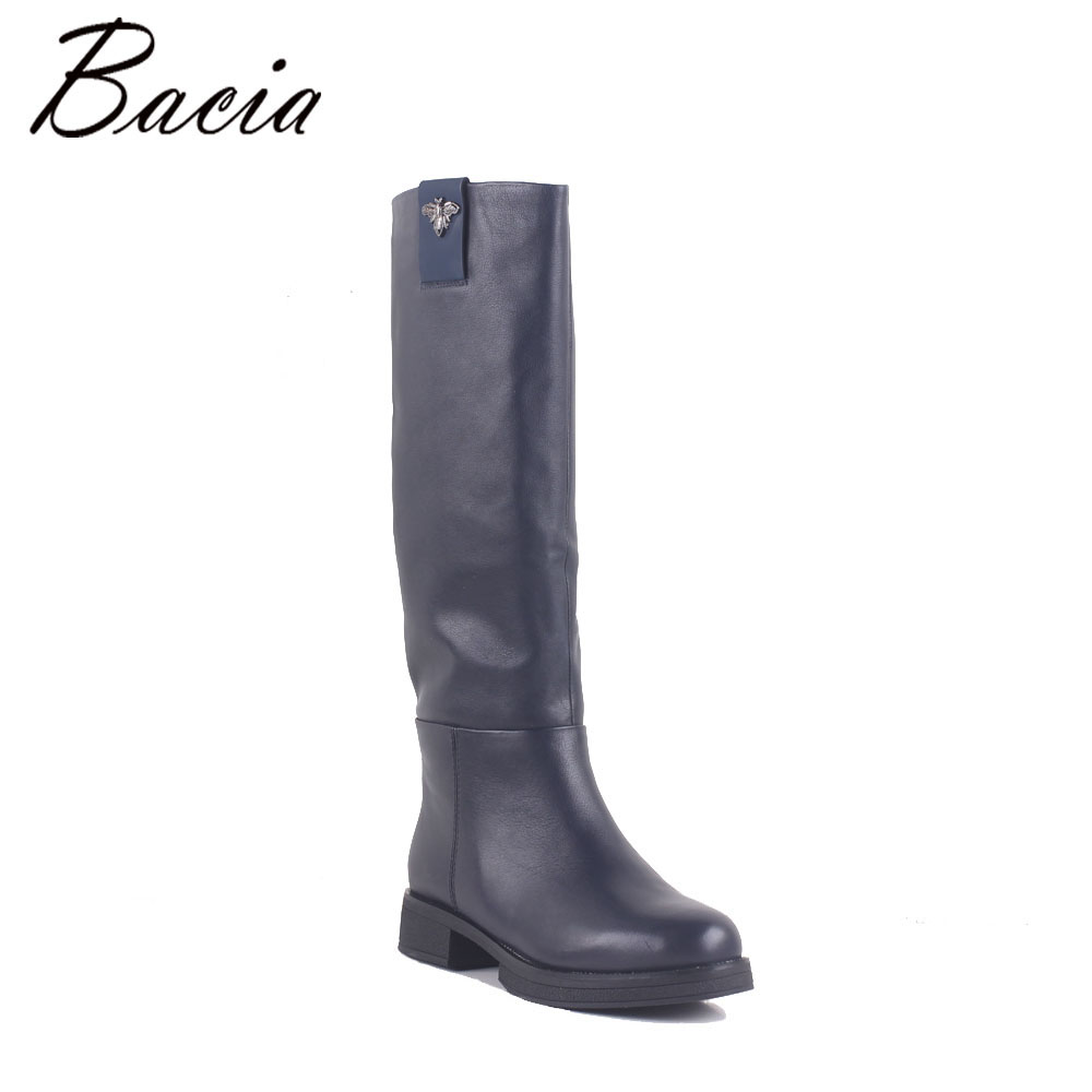 Bacia Winter Boots Wool Fur Inside Warm Shoes Women Luxury Genuine Leather Shoes Handmade Russia Boots Footwear Botas MC025 bacia russian original design boots knee high platform boot genuine leather quality shoes handmade footwear women botas vc001