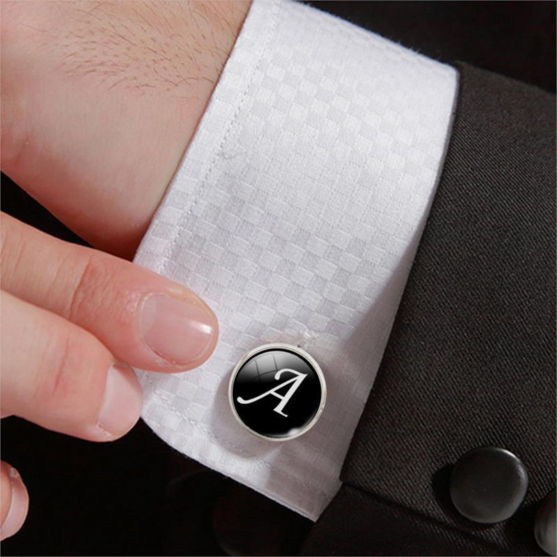 SHUANGR 1 Pair Business White On Black Letters Men Suits Shirt Cuff Links Silver Plated Glass Cabochon Wedding Cuff Accessories