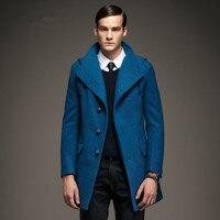 AI Для мужчин хотят последние Дизайн Шерстяное пальто Европа озера синие с капюшоном шерстяные Trenchcoat Человек зима теплая красная модная вер
