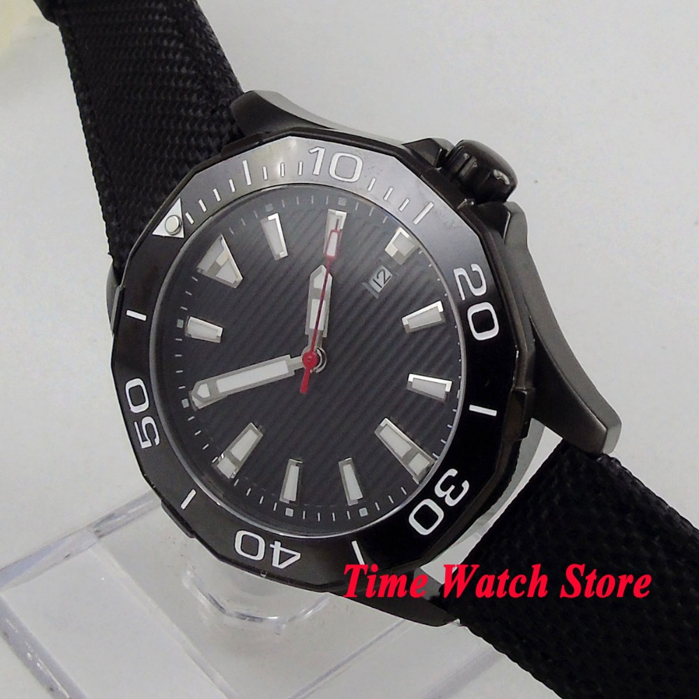 45mm PVD Polygon mens watch black dial luminous ceramic bezel sapphire glass 5ATM MIYOTA Automatic movement wrist watch PL945mm PVD Polygon mens watch black dial luminous ceramic bezel sapphire glass 5ATM MIYOTA Automatic movement wrist watch PL9