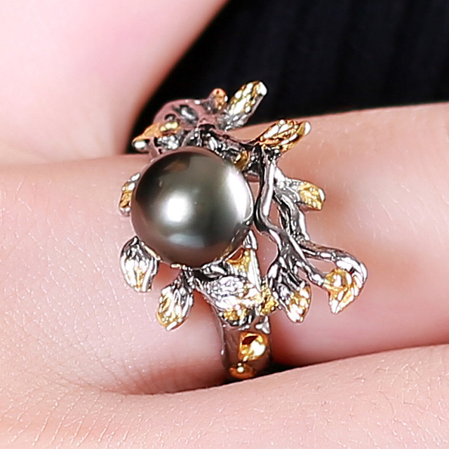 Natural Black Pearl  silver flower Ring
