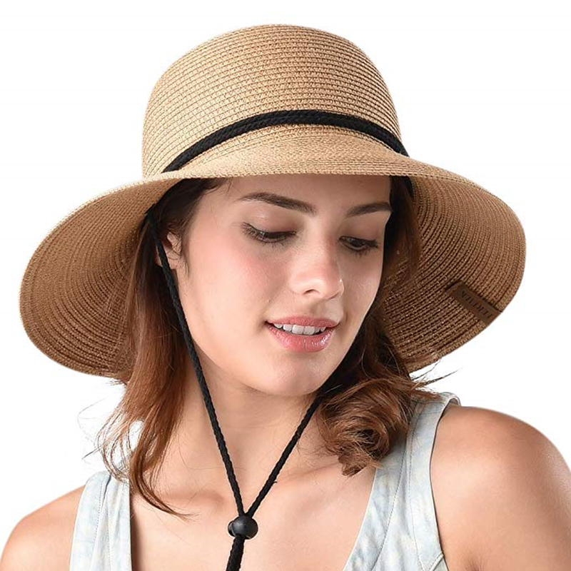 Image 2 - FURTALK Summer Hat for Women Straw Hat Beach Sun Hat Female Wide Brim UPF 50+ Sun Protection Bucket Hats Cap with Wind Lanyard-in Women's Sun Hats from Apparel Accessories
