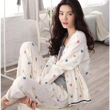 Sallei spring 100% women's cotton sleepwear sexy long-sleeve lounge sweet 100% cotton cardigan set
