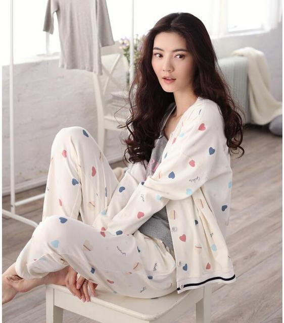 Sallei spring 100% women's cotton sleepwear sexy long-sleeve lounge sweet 100% cotton cardigan set
