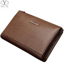 YINTE Fashion Leather Men's Clutch Wallets Business Zipper Wallet Men Wrist Bag Brown Wallets Purses Big Handy Bags T8372-1