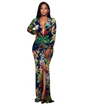 Femmes Sexy Party Night Club Dress Tribal Impression de Split-Parole Longueur Dress Cocktail Vestidos Mujer Femme Robe S-XXXL