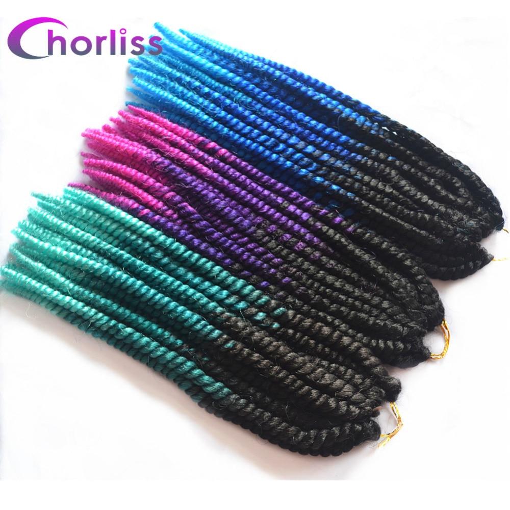"Chorliss 12"" Ombre Green Mambo Twist Braiding Hair Synthetic Crochet Braids Hair Extensions 16strands/pack"