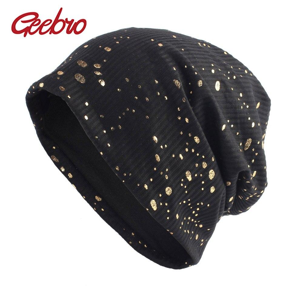 Geebro Women's Splatter Paint Beanie Hat Autumn Metallic Color Ribbed Cotton Slouchy Beanies For Femme Black Bronzing Skullies