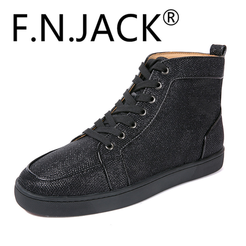 Fashion Shoes F.N.JACK Sneakers Hi-top Flat Trainers High Quality Red - Men's Shoes