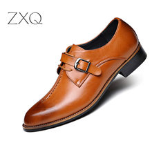 2019 New Men Dress Shoes Formal Wedding Leather Shoes Retro Brogue Business Office With Buckle Men's Flats Oxfords For Men handmade men dress shoes formal wedding genuine leather shoes retro brogue business office men s flats oxfords for men