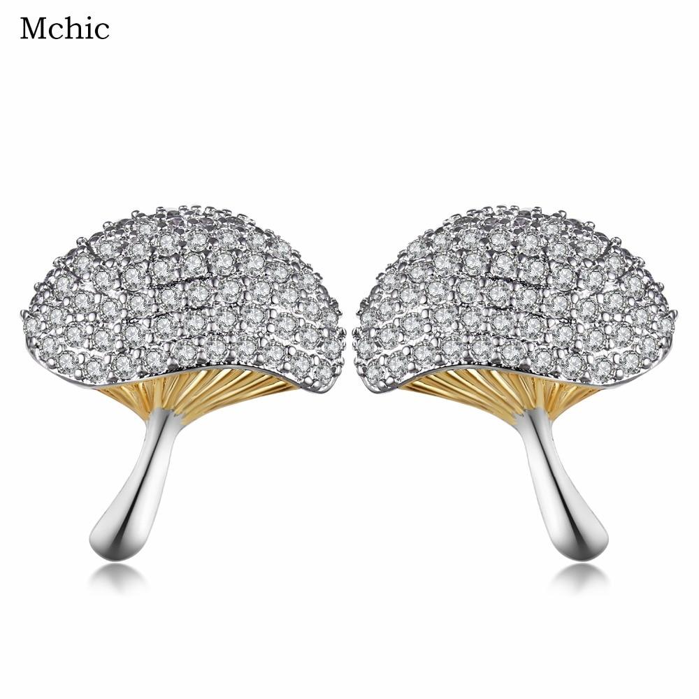 Mchic 2017 Cute Elegant Cubic Zirconia Mushroom Jewelry Women Stud Earrings Fashion Tiny Crystal Bijoux Earrig For Party Gift