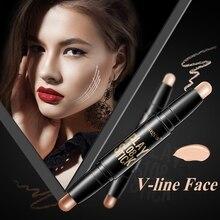 Купить с кэшбэком Double Color Concealer Highlights And Bronzer Shadow Grooming Rod Block Defect 3D Carry Bright V Face Lie Silkworm Images Brand