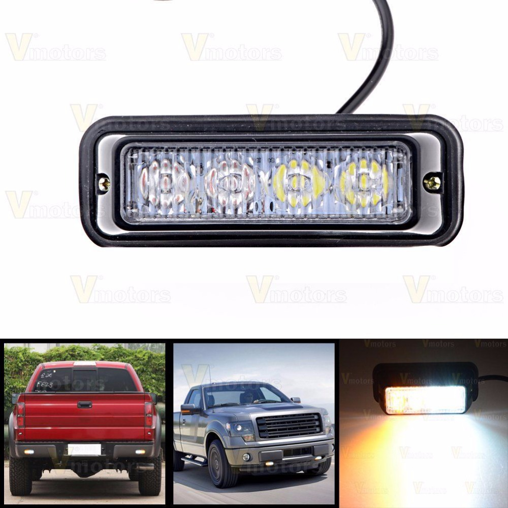 CYAN SOIL BAY 4 LED White/Amber Dash Warning Emergency Beacon Strobe Flash Light Bar Car Truck 4LED Yellow 12V 24V