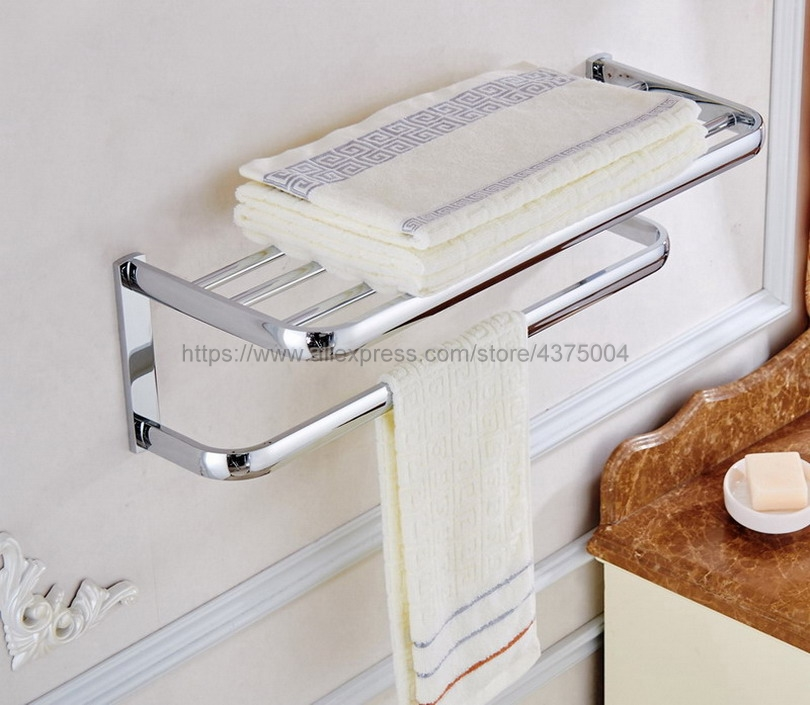 Bathroom Bath Towel Rack Chrome Polishing Quality Wall Mounted Towel Rail Holder Toilet Bar Towel Rack Nba831
