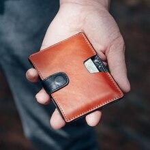 Newbring fino couro titular do cartão de crédito homem compacto mini bolsa dinheiro dinheiro carteira feminina cartão de visita & id titular manga