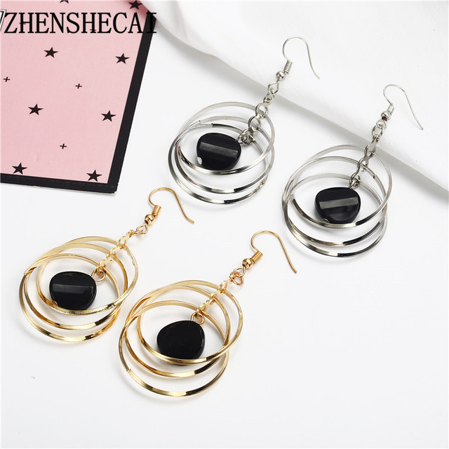 Fashion earring for women gold sliver color black ball long earring drop circle design wedding party jewelry wholesale e059