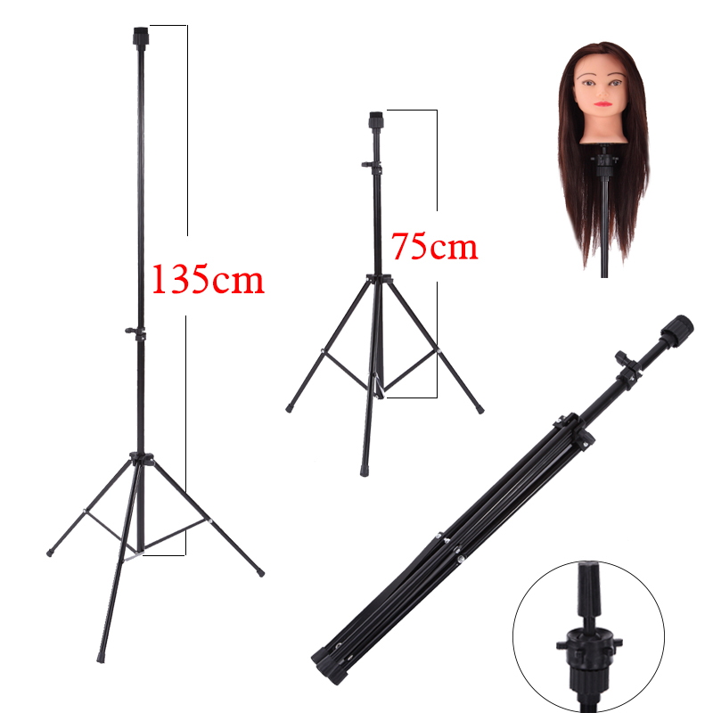 Salon Adjustable Wig Tripod Stand Hair Practice Training Mannequin Head Holder Clamp Showed Prop Wig Hairstyling Tool ...