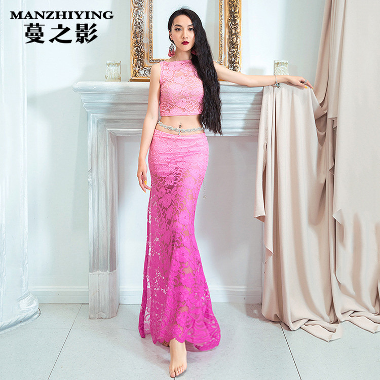 Belly Dance costumes New Fashion Lace Top Long Skirt Set Summer Oriental Dancing Training Outfits