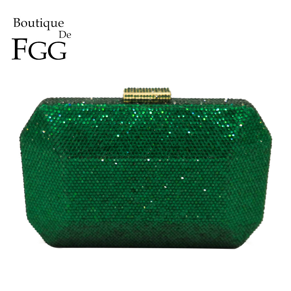 Boutique De FGG Sparkling Green Emerald Crystal Women Evening Bag Fashion Wedding Bridal Diamond Clutch Minaudiere Handbag Purse boutique de fgg hot pink fuchsia crystal diamond women evening purse minaudiere clutch bag bridal wedding clutches chain handbag