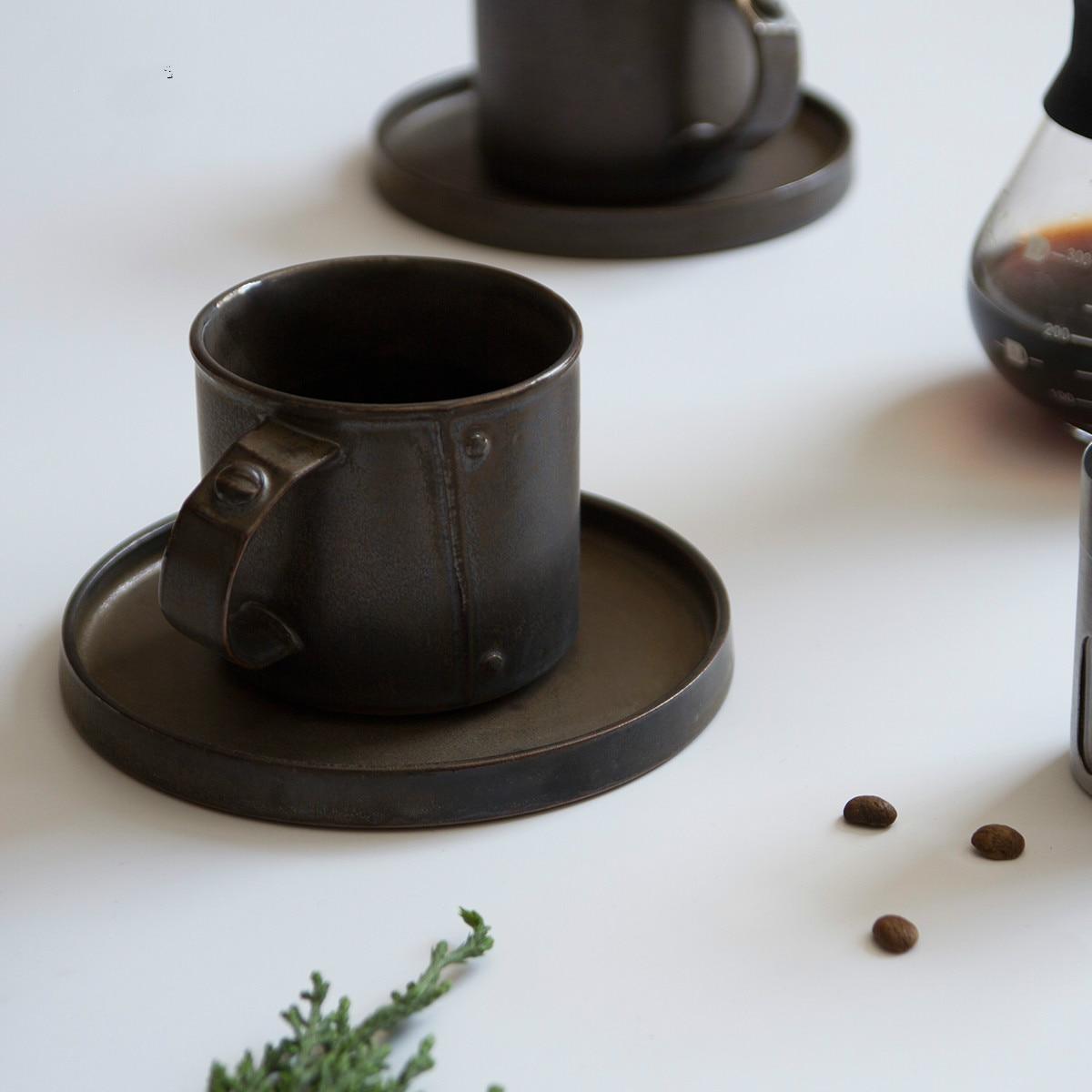 Tasse à café rétro en métal noir glaçure Cappuccino tasse à café italien Original tasse à la main tasse de luxe Rivet tasse tazas para café C040