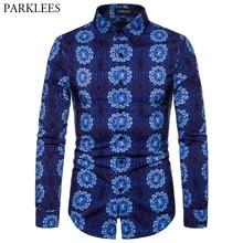 כחול פסיכודלית המנדלה הדפסת אופנתי חולצה גברים 2019 סתיו חדש Slim Fit ארוך שרוול שמלת חולצות Mens מזדמן חברתיות חולצה 2XL