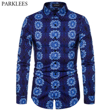 Blue Trippy Mandala Print Stylish Shirt Men 2019 Autumn New Slim Fit Long Sleeve Dress Shirts Mens Casual Party Social Shirt 2XL