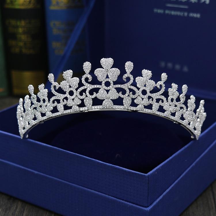 Paved CZ Crown Cubic Zircon Tiara Princess Tiaras Wedding Hair Accessories Bride Hair Jewelry Bijoux Cheveux Coroa WIGO1097