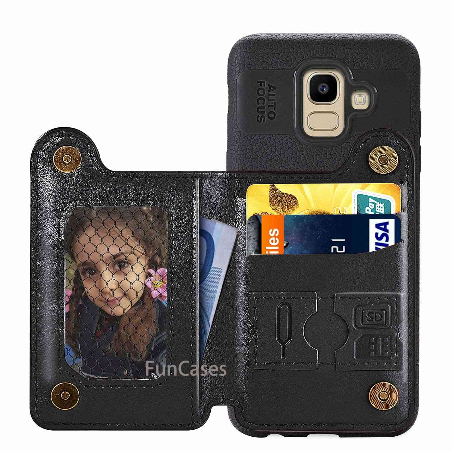 "leather case For Samsung galaxy j6 j 6 2018 Flip 5.6"" phone back coque luxury cover wallet book Card Magnetic covers"
