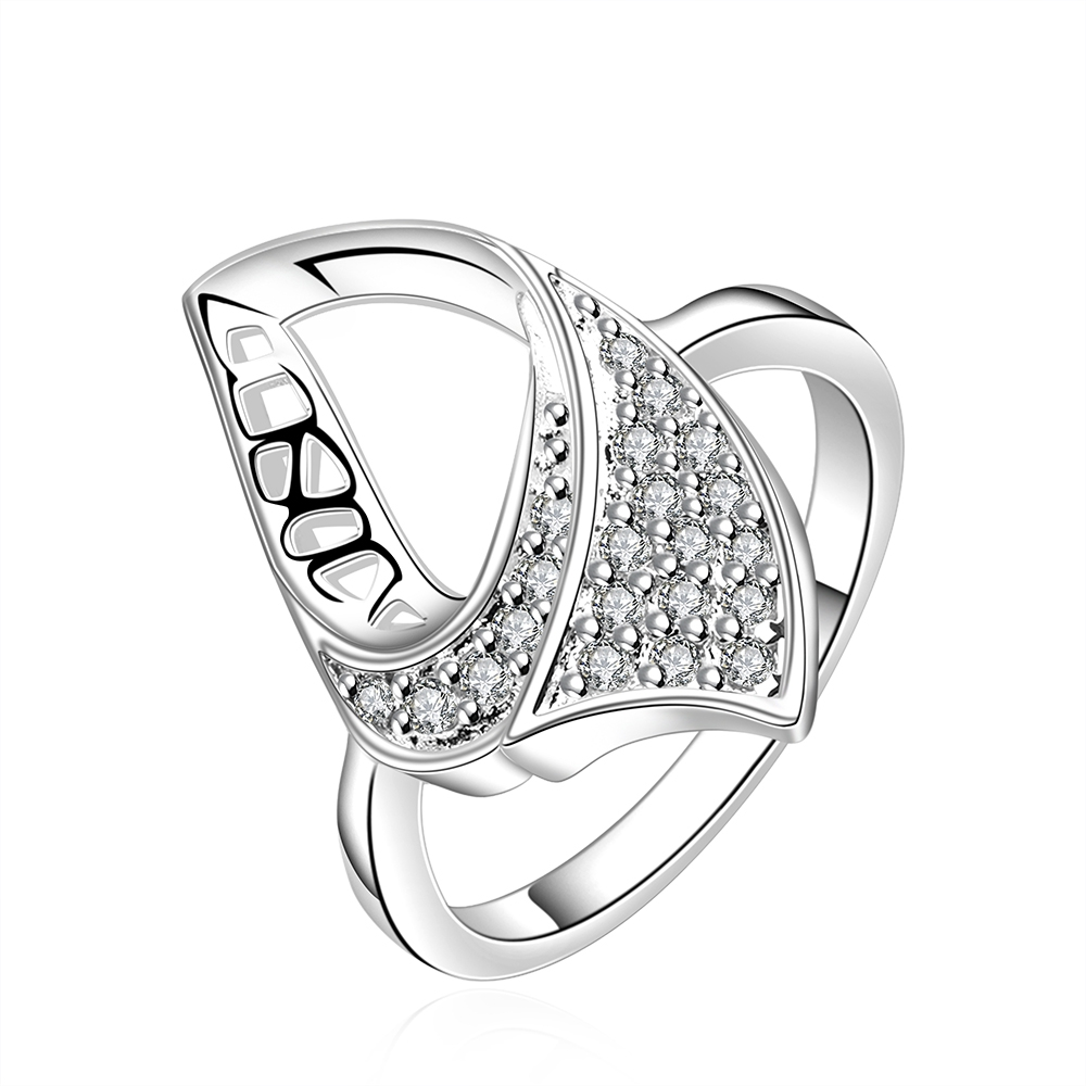 Really hot selling pure silver fashion jewelry geometry zircon simple beautiful ladies r ...
