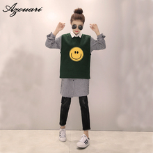 The new autumn and winter large size women's clothing XL-5XL fashionable smile two piece sweater vest + shirt 2 piece set women
