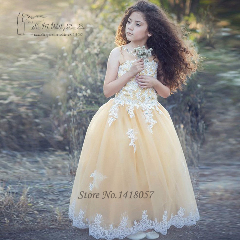 Christmas Yellow Pink Tulle Lace Flower Girl Dresses For Weddings