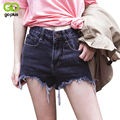Goplus fashion cotton denim shorts mujeres sexy bordes deshilachados agujero negro de cintura alta pantalones vaqueros cortos 2017 bolsillos casual ripped shorts