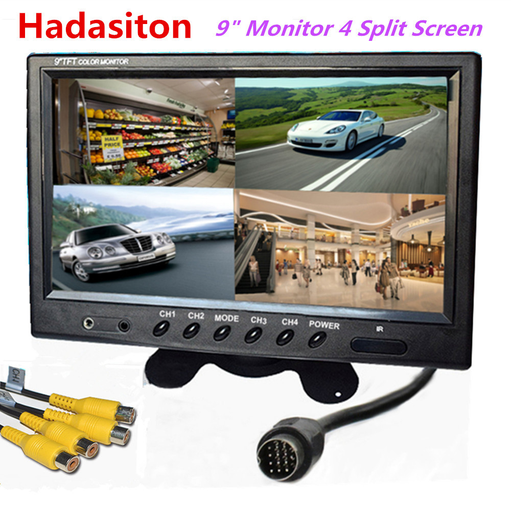 9 TFT LCD 4 Split Screen Car Monitor 4 Channels input Headrest monitor Use for Bus