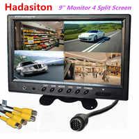 Monitor TFT LCD para coche, de 9 pulgadas pantalla dividida, 4 canales de entrada, reposacabezas, uso para autobús, autocaravana, barco, sistema de seguridad CCTV