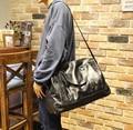 Moda negro hombres viajan bolsas de cuero hombre bolso ocasional de gran capacidad Vintage Men bolso de lona impermeable