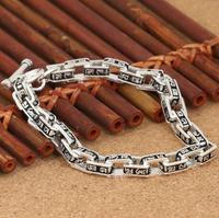 Для мужчин резные мантра цепь из квадратных звеньев Будда браслет для медитации стерлингового серебра 925 ювелирные изделия