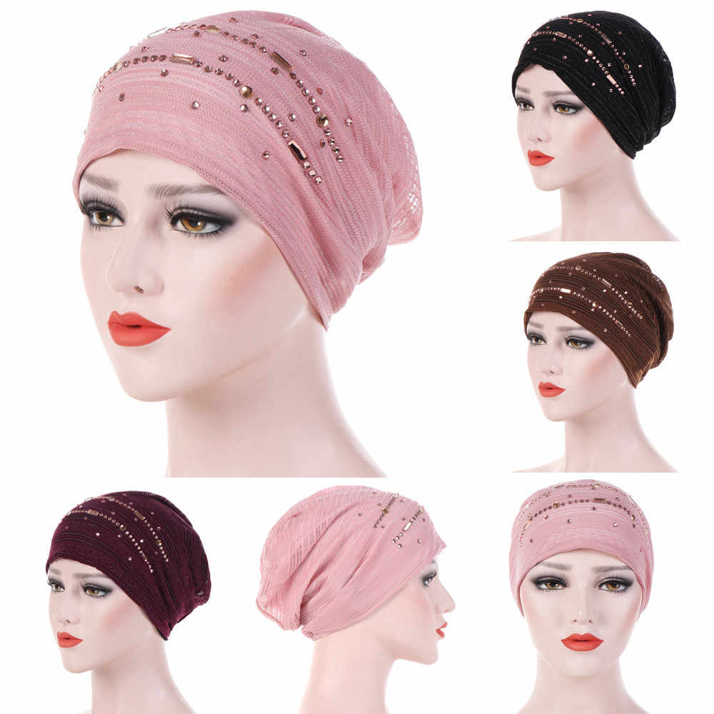 India  Women Headband Muslim Rhinestone Ruffle Cancer Chemo Hair Hats Beanie Bandanas Scarf Head Wrap Headwear Cap PJ0823