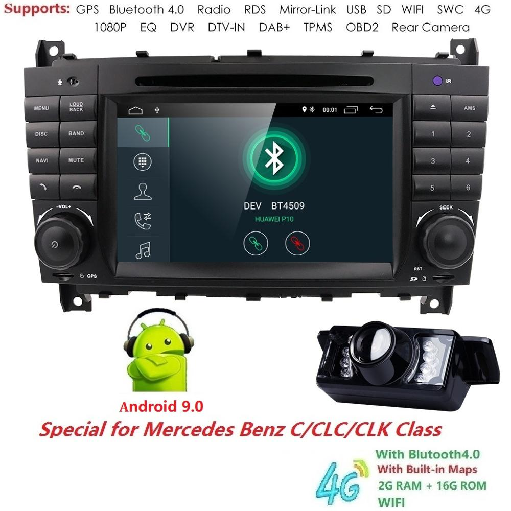 Android 9.0 4G 2 DIN voiture DVD GPS pour Mercedes/Benz W203 W209 W219 classe A A160 classe C C180 C200 CLK200 radio stéréo