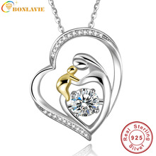 BONLAVIE 925 Chapados En Oro de Amor de La Joyería de Plata de La Madre Mamá Mantenga Bebé Familia Corazón Colgante de Collar de Cadena