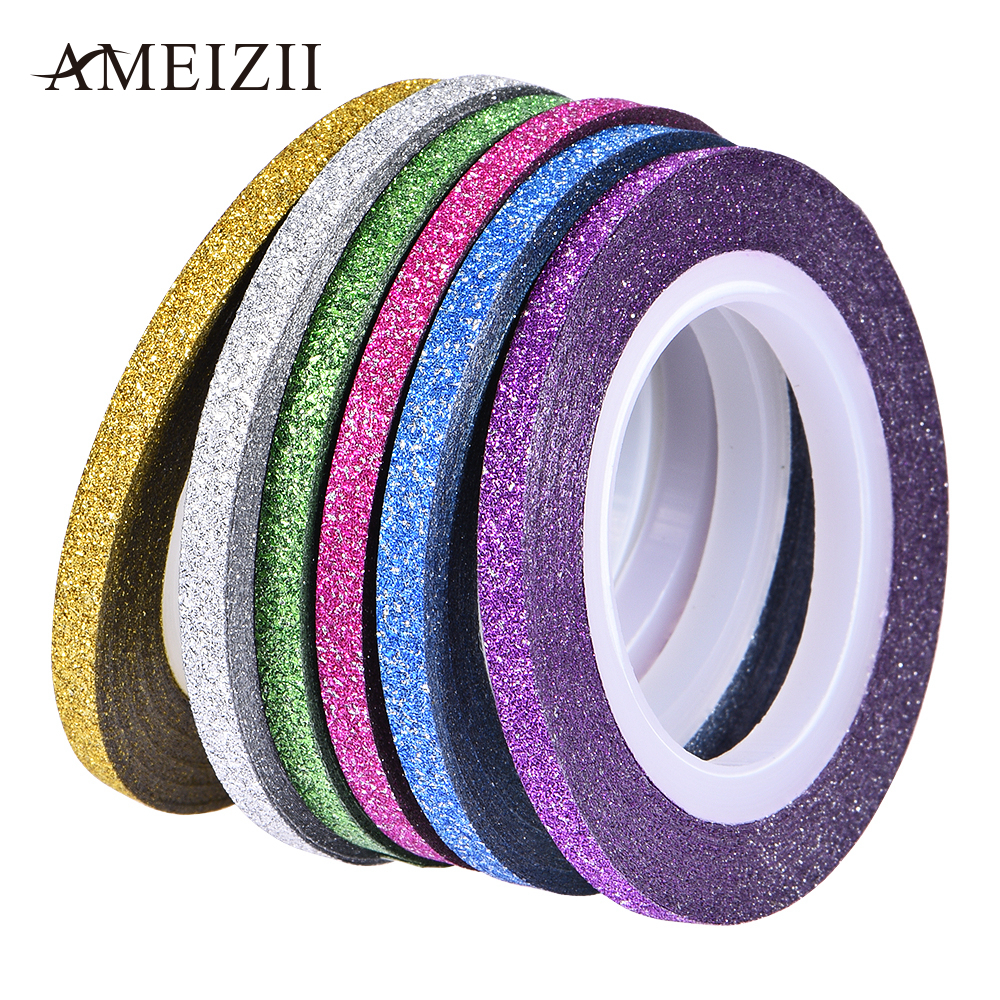 Nail Striping Tape Walmart: 6 Rolls Matte Glitter Nail Striping Tape Multi Color