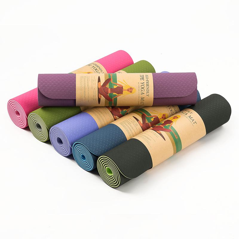 TPE Yoga mats fitness skid environmental tasteless Soft comfortable colchonete fitness yoga gym exercise mats 183*61*0.6 HW233 jufit 1830 610 6mm tpe yoga mat double sided color exercise sports mats for fitness gym environmental tasteless pad