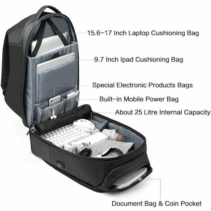 Hommes sac à dos de voyage pour ordinateur portable Hydrofuge Fonctionnel Sac À Dos avec Port USB ZJ55