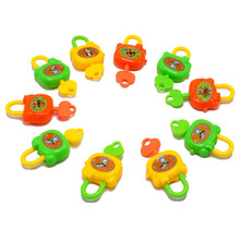 100pcs/lot New Plastic Colorful Cartoon Key Lock Toy Educational Kids Toys for Children Kid Gift Wholesale