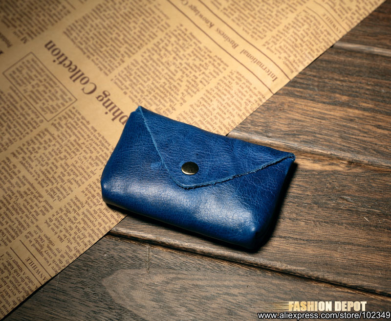 Cow Leather Real Leather Credit card holder business card wallet blue  (2)
