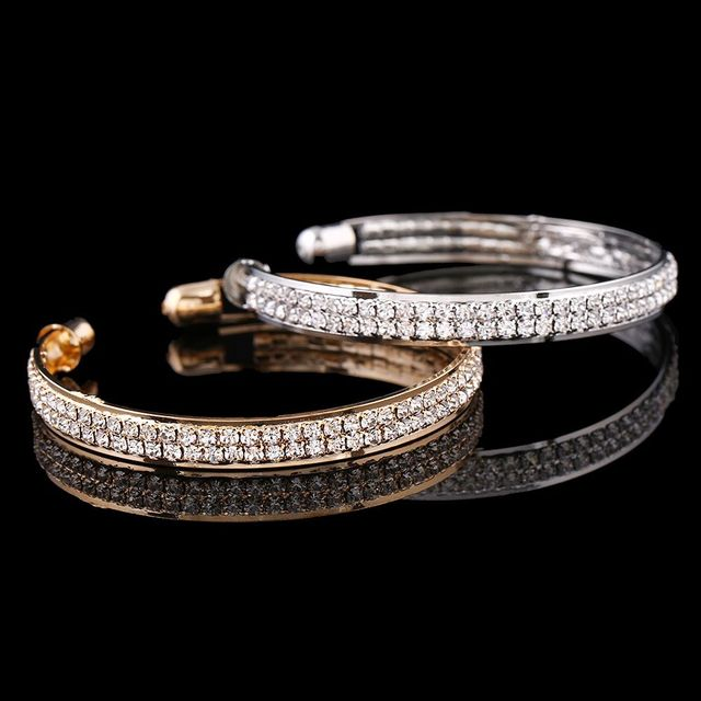 Gold Crystal Rhinestone Bangle Cuff