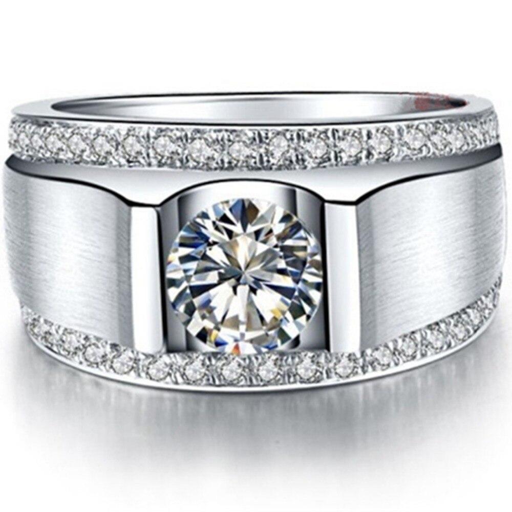 ผู้ชายหล่อแหวนจำลองเพชร1CTหมั้นแหวนเงินผู้ชายแต่งงานเครื่องประดับแหวนทองคำขาวชุบเครื่องประดับผู้ชาย-ใน ห่วง จาก อัญมณีและเครื่องประดับ บน AliExpress - 11.11_สิบเอ็ด สิบเอ็ดวันคนโสด 2